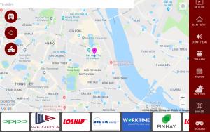 Bản đồ trên màn hình giải trí trong xe taxi của Saga Media